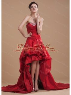 Buy wine red high low sweetheart homecoming dress with beading and pick ups from cute homecoming dresses collection, sweetheart neckline a line in red wine red color,cheap high low dress with side zipper back and for prom party cocktail party homecoming . High Low Prom Dresses, Unique Prom Dresses, Cute Wedding Dress, Beautiful Prom Dresses, Fall Wedding Dresses, Colored Wedding Dresses, Dama Dresses, Pageant Dresses, Quinceanera Dresses