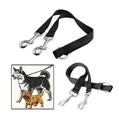 Pecute® Nylon Coupler Leash 1 Lead Duplex 2 Way Dual Double Leash Two Dog Walk Necklace * Find out more details by clicking the image : Leashes for dogs