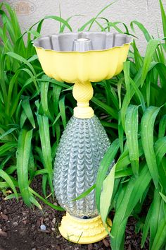 Birdbath, feeder from old lamps and interesting bowls/pans