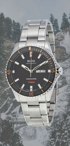 Mido Ocean Star Captain Dive Watch - Fit Stop Garage Sport Watches, Cool Watches, Rolex Watches, Waterproof Sports Watch, Heart Function, Dove Men, Automatic Watches For Men, Heart Rate Monitor, Ocean