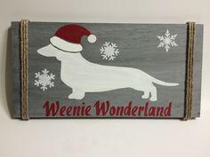 Christmas Dachshund Decor   Dachshund Sign by SteviLus on Etsy https://www.etsy.com/listing/248967282/christmas-dachshund-decor-dachshund-sign