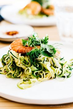 shrimp and zucchini noodles with caramelized fennel, garlic and crushed red pepper - light yet indulgent :)