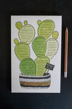 This quirky cactus weekly list notepad is a charm to have sitting on your desktop and is functional with each cactus pad having the day of the week listed for easy planning! Hand-drawn and printed in