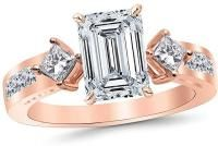 2.85 Ctw 14K Rose Gold GIA Certified Emerald Cut Channel Set 3 Three Stone Princess Diamond Engagement Ring