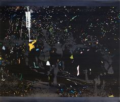 Abtrieb, oil on canvas, 140*120 cm, ceremonial driving down of a cattle from the mountain pastures into the valley in autumn