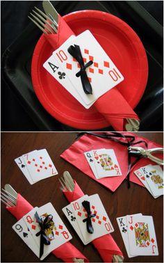 Alice in wonderland table settings | poker party ideas | casino party ideas