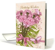 floral carnation and butterfly birthday card (923384)