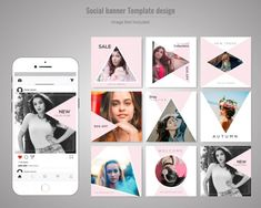 Fashion Social Media Post Template. Digital Photo Album, Insta Story, Creative Ideas, Banner, Layout, Social Media, Templates, Facebook, Logo