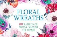 80 Watercolor wreaths mega set by Watercolor Gallery on Creative Market