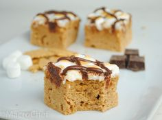 Healthy graham cracker protein cake bars topped with gooey marshmallows and drizzled with dark chocolate.