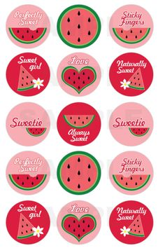INSTANT DOWNLOAD M2M Gymboree Watermelon Bottle Cap Images