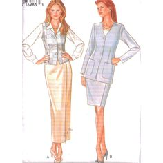 New Look Sewing Pattern 6405  UNCUT Misses' Jacket, Skirt, Vest, Waistcoat  SIZE: A 8-18
