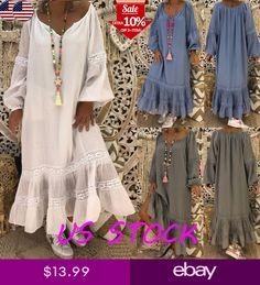 97a53fa374540a Womens Long Sleeve Kaftan Loose Tunic Oversize Full Length Ruffle Maxi  Dress US