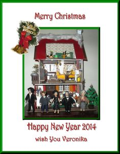 My dollhouse seasons greetings for you :-) Happy New Year 2014, Merry Christmas And Happy New Year, A Study In Pink, Tom Adams, Midsomer Murders, Miss Marple, 221b Baker Street, Dollhouse Dolls, Sherlock Bbc