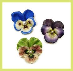 S.J. Phillips antique enamel pansy brooches