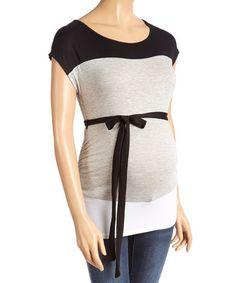 Look at this #zulilyfind! Black & Gray Color Block Maternity Scoop Neck Top #zulilyfinds