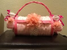 Unique Diaper Cake-baby shower gift-baby girl-Purse-all usable items for the New Mom