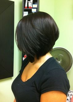 Side view of Black Angled Bob Haircut