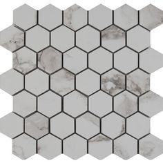 "MS International Statuario 2"" x 2"" Hexagon Porcelain Mosaic Tile in Matte"