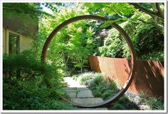 I absolutely LOVE this concept -- an Asian influenced moon gate made of Corten. From Bamboo, Succulents and Garden Landscape Design, Landscape Architecture, Garden Gates, Garden Bridge, Modern Landscaping, Landscaping Design, Garden Landscaping, Moon Gate, Garden Screening