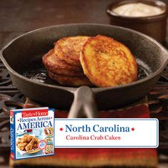 50 States in 50 Days: In North Carolina we stop for homemade crab cakes. Carolina Crab Cakes Recipe from Taste of Home.  Find regional Southern recipes like this one and more in our new cookbook, Recipes Across America---->  http://www.tasteofhome.com/rd.asp?id=22997