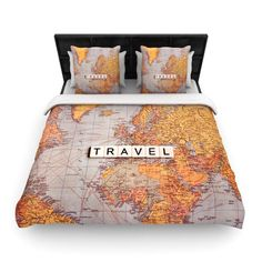 Rustic World Map Microfiber Duvet Cover  Duvet Bedroom kids and