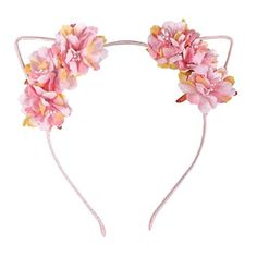 bb3900bef0 Cute Floral Cat Ears Pink Headband (stocking stuffer ideas for girls)  Christmas Gifts For