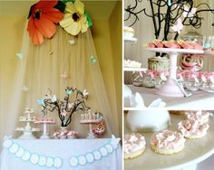 """Melissa and Kelly ofIcing Designs sent us this enchanting fairy-themed party, which they created for two little birthday girls, Stella and Evelyn. """"Sweet Fairy"""" invitations from theirEtsy shop set the tone for the party. Evoking a magical woodland atmosphere, they made two gorgeous over-sized paper flowers to hang above the dessert table. They draped pink …"""