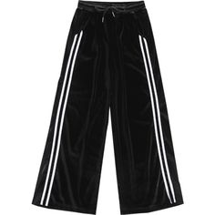 Side Stripe Velvet Pants Black (222.290 IDR) ❤ liked on Polyvore featuring pants, side stripe trousers, velvet trousers, side stripe pants and velvet pants