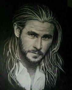 Retrato Thor. Acrilico, medida 70x50 15€