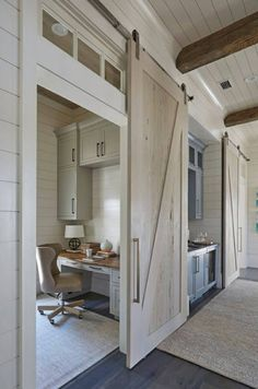 Farmhouse sliding door for closet office. Similar to Joanna Gaines in Fixer Upper.