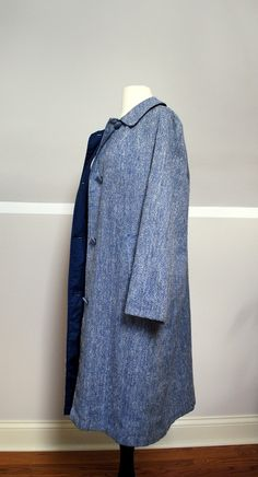 Blue 50s Cut Handmade Light Coat by StrangerThanVintage on Etsy