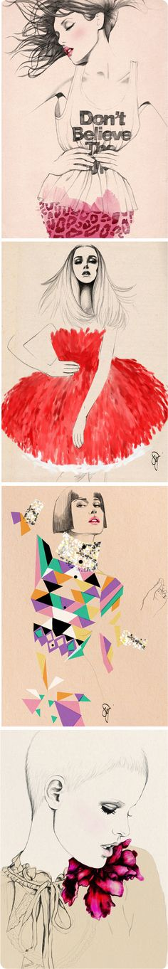 Girls #illustration by Sandra Suy #fashion