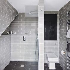 Grey modern wet room with metro tiles | Bathroom decorating | Ideal Home | Housetohome.co.uk