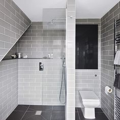 Grey modern wet room with metro tiles | Bathroom decorating | Ideal Home | Housetohome.co.uk