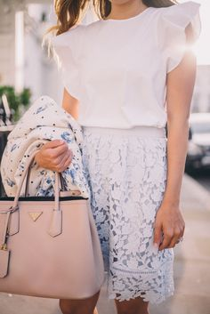 love this classic look. white ruffle top + lace skirt