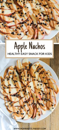 Healthy Snack for Kids - Apple Nachos. Easy and fun snack for after school that is gluten free. Recipes for kids to make Healthy Snack for Kids - Apple Nachos School Snacks For Kids, Easy Snacks For Kids, Healthy Snacks To Buy, Healthy Kids, Fun Meals For Kids, Easy Recipes For Kids, Healthy Snack Recipes, Summer Snack Recipes, Healthy Desserts For Kids
