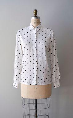 vintage polka dot blouse     #polkadots