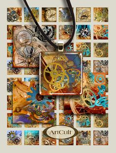 STEAMPUNK - Printable Digital Collage Sheet 1x1 inch and 1.5x1.5 inch size square images for pendants bezel settings magnets paper scrapbook...