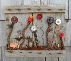 Garden art Assemblage Found Objects on reclaimed by bearpawrustics