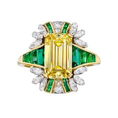Raymond C. Yard Fancy Vivid Yellow Diamond & Emerald Cocktail Ring