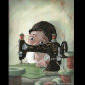Girl at the sewing machine - illustration by Quentin Greban Alphonse Mucha, Art Original, Sewing Art, Sewing Patterns, Children's Book Illustration, Watercolour Illustration, Whimsical Art, Cute Art, Illustrators