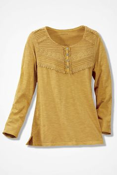 Lace-Charmed Henley, Honey