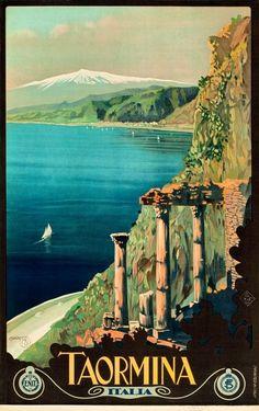 Vintage Travel Taormina Coast Of Sicily Italy Mount Etna Volcano Travel Vintage Poster Repro - Vintage Italian Posters, Poster Vintage, Vintage Travel Posters, Vintage Ads, Travel Ads, Travel And Tourism, Taormina Sicily, Sicily Italy, Calabria Italy