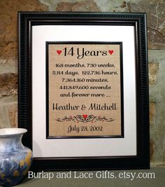 14th Anniversary Gift | 14 Years Together | Years Months Weeks Days Hours Minutes | Fourteenth Wedding Anniversary Gift Wife (ana207-14)