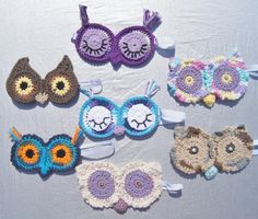 Crocheted Owl sleeping mask with beads by JPInspirations on Etsy
