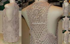 Colete em crochê confeccionado a mão em linha 100% algodão. Peça feita sob encomenda na cor de sua preferência. Tamanho da foto veste: M e G R$ 125,90