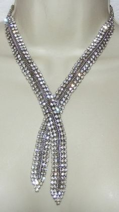 Vintage Clear Rhinestone NECKLACE costume jewelry overlapping design | eBay