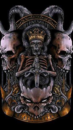 Skulls n Skeletons Skull Tattoos, Body Art Tattoos, Model Tattoo, Grim Reaper Art, Totenkopf Tattoos, Beautiful Dark Art, Satanic Art, Skull Artwork, Horror Artwork