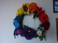 Knitted Flowers wreath